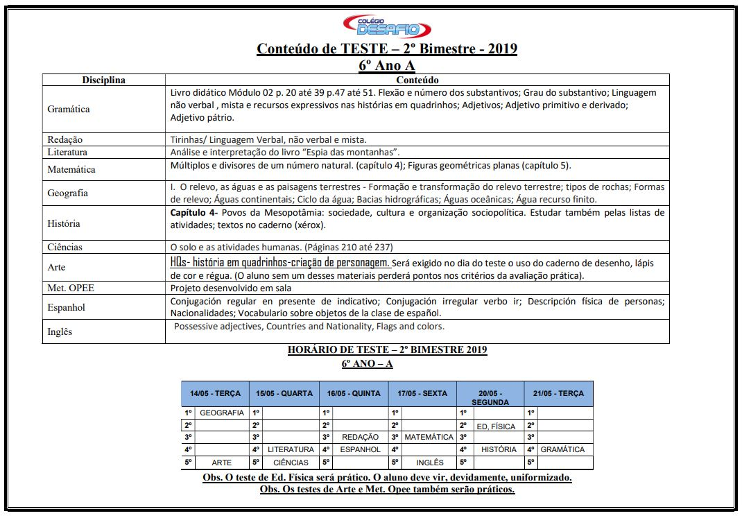 Cronogramas e horários de testes – 1º ao 9º – 2º Bimestre
