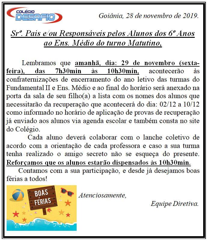 28-11 Confraternização Matutino