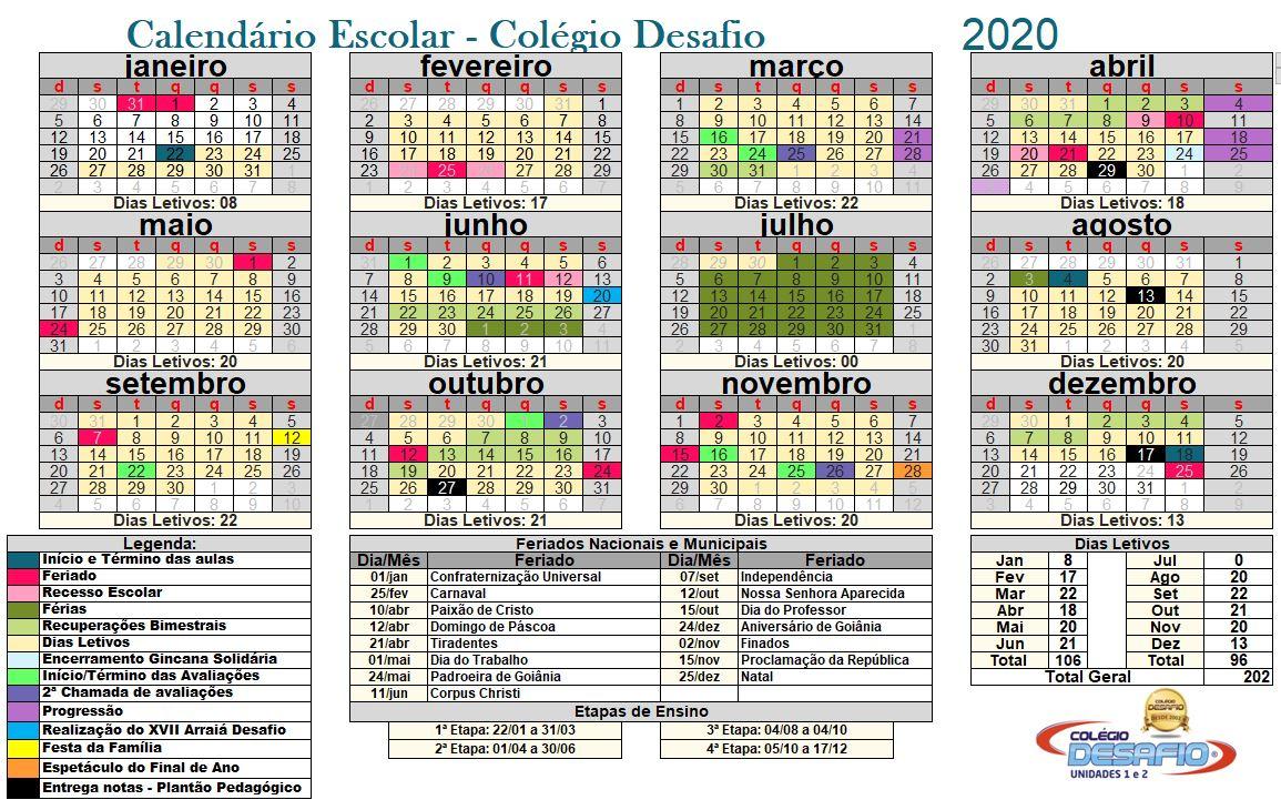 calendário Escolar.